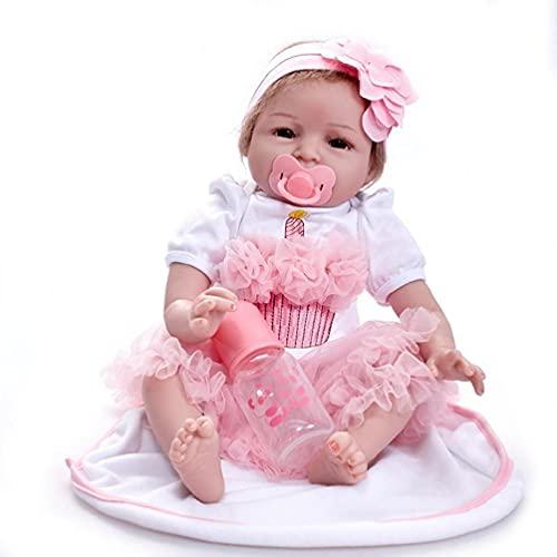 Vestido Rosa para niña 22 Pulgadas Muñeca nutritiva Decoración de Fiesta de cumpleaños Interactiva Caucásica Suave Muñeca Realista Reborn Juguetes Baratos