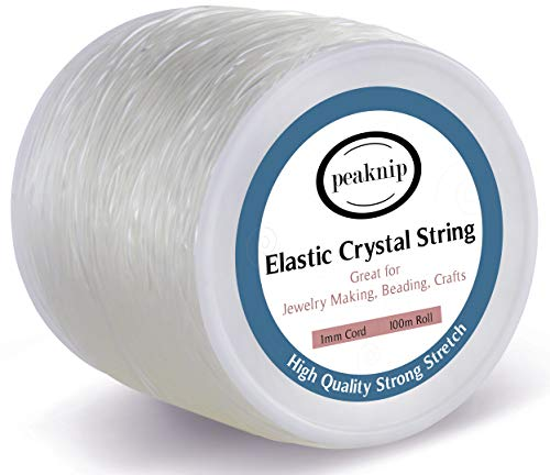 1mm Elastic Bracelet String - Elastic Cord for Necklace, Bracelet Beading and Jewelry Making - Strong and Stretchy (Clear)