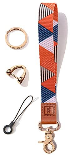 SENLLY Schlüsselband Wristlet Keychain Lanyard Strap Handschlaufe Schlüsselanhänger mit echtem Leder, für Schlüssel, Mobile Handys Telefon, Kamera, Charms