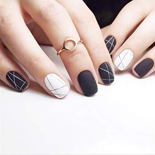 Milanco Matte Fake Nails Geometrical Line Press on Nails Square Full Cover Short False Nails Art 24Pcs for Women