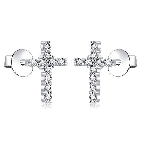 AoedeJ Orecchini a bottone con croce in argento sterling Orecchini con croce religiosa in zirconi cubici per donne e uomini (Stile 2)