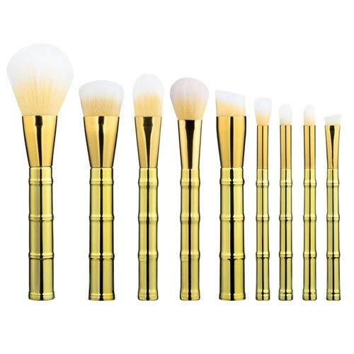 MEIYY Pinceau De Maquillage 9Pcs Pinceau De Maquillage En Forme De Bambou Poignée Cosmétique Fondation Poudre Sourcils Fard À Paupières Visage Mélange Brosse