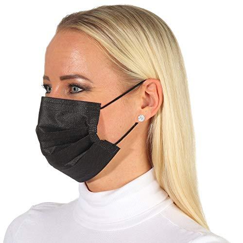 50 Stück Einweg Gesichtsmaske Mund-Nasen-Bedeckung schwarz 3-lagiger Mundschutz und elastischer Gummizug