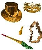 CAPRILO Lote de 10 Bolsas de Cotillones Decorativas Serie Oro. Cotillón para Fiestas y Eventos. Decoración Original para Bodas, Comuniones,Cumpleaños y Fin de Año(Nochevieja).