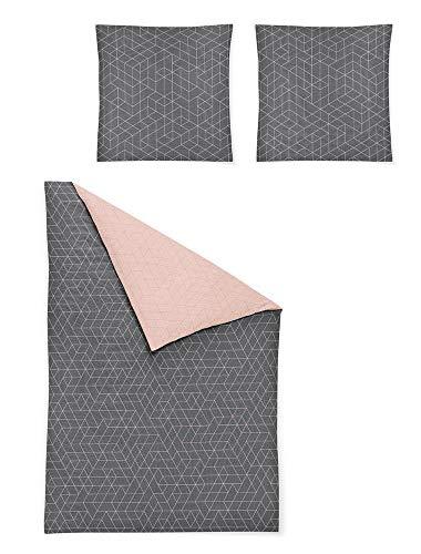 Irisette Mako Satin Bettwäsche 135x200 2tlg grau rosa | Bettwäsche-Set aus 100% Baumwolle | 2 teilige Wende-Bettwäsche 135x200 cm & Kissen 80x80 cm | Geometrisches Muster