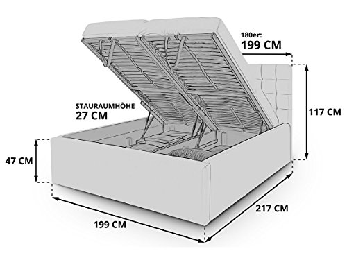Luxus Polsterbett mit Bettkasten Selly mit Zirkonia Steinen XXL Kunslederbett Doppelbett Ehebett Weiß (180x200cm) - 3