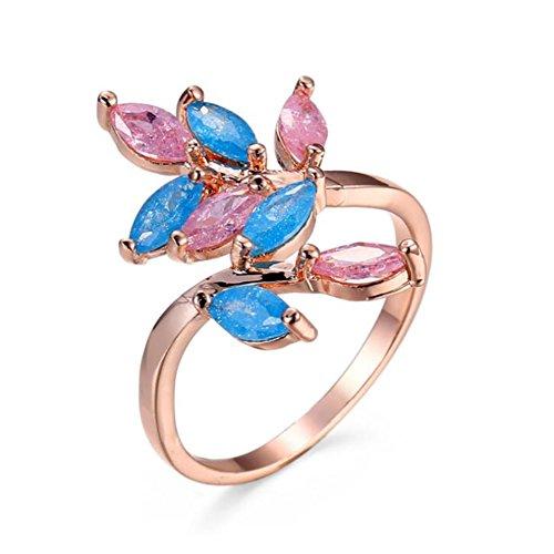 Impression 1PCS Ringe Ring gemischt Blumen-Eis-Diamant-Ring Mode-Ring Schmuck-Girl Zubehör Valentinstag Geschenke aus Glas Hochzeit Ring offen