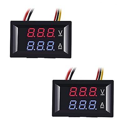 """Organizer 2pcs 0.28"""" LED Voltmeter Ammeter, Red and Blue Digital Multimeter Display Voltage Current Tester,DC 0-100V 10A Detector Voltage Current Meter Panel Amp Volt Gauge"""