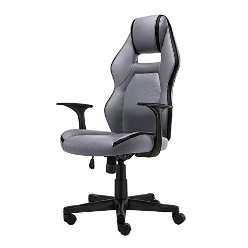 Executive Recline bureaustoelen, lederen Gaming High Back Ergonomische Verstelbare Racing Task Swivel Executive Hoofdsteun Lumbar Ondersteuning Gecapitonneerde bureaustoel Grijs