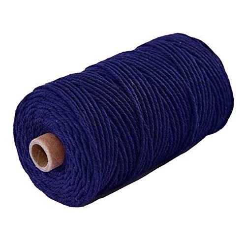 HitTopss - Hilo de macramé para manualidades, 3 mm, 100 m, hilo de algodón, cordón de algodón, para manualidades, manualidades, colgar en la pared, planta colgador, cordón decorativo (azul oscuro)