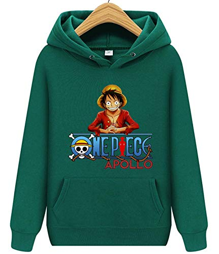 AILIBOTE One Piece Monkey D. Luffy Hoodie Sweater for Mens Green XXL