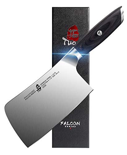 TUO Vegetable Meat Cleaver knife - Cleaver Knife 6.5 inch Chopping Chopper Butcher Knife Chinese Cleaver - German HC Steel with Pakkawood Handle - FALCON SERIES with Gift Box