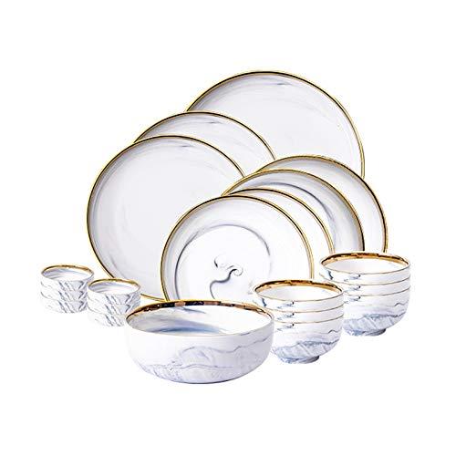 Plato de cena familiar Conjunto de vajillas de cocina de 20 piezas, servicio para 4, conjuntos de placa de cena elegantes modernos, conjunto de placas de cerámica duraderas, mármol de borde de oro Sum