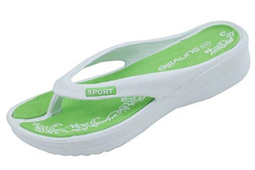 top 10 star bay sandals Women's Green Lightweight Wedge Flip-Flops, Size 6