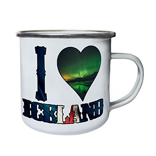 INNOGLEN J'aime L'Islande Incroyable Rétro, étain, émail Tasse 10oz/280ml r928e
