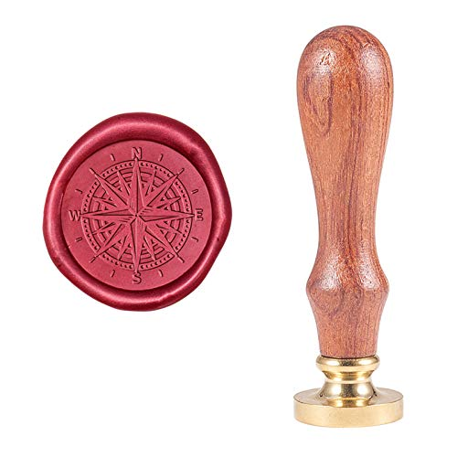PH PandaHall Compass Wax Seal Stamp Vintage Retro Sealing Stamp for Embellishment of Envelopes, Party Invitation, Wine Packages, Gift Packing, Greeting Card