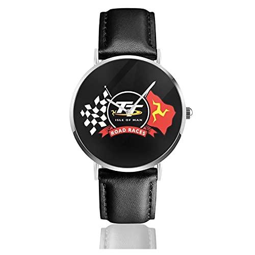 New Isle of Man TT Race Imagen Personalizada Personalizada Reloj Deportivo Unisex con Correa de Cuero Relojes de Cuarzo Reloj de Pulsera para Hombres y Mujeres