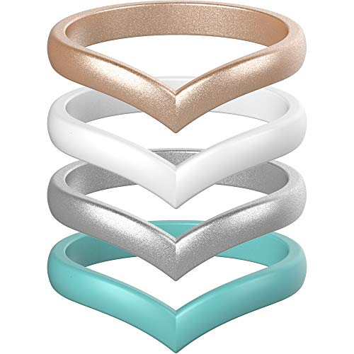 ThunderFit Thin Heart Shaped Silicone Wedding Rings for Women (Teal, Rose Gold, White, Silver, 6.5-7 (17.3mm))