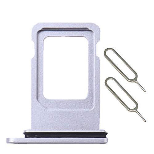 EXIANG Dual-SIM-Kartenfach, kompatibel mit iPhone XR, silberfarben, mit 2 Auswurf-Werkzeugen
