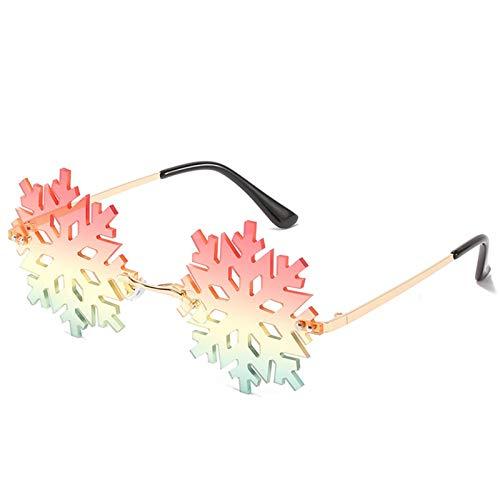 Bomoka 2 gafas de sol de moda, sin montura con forma de copo de nieve, gafas de sol unisex, gafas de sol de moda, personalidad, estuche de regalo (tamaño 06)
