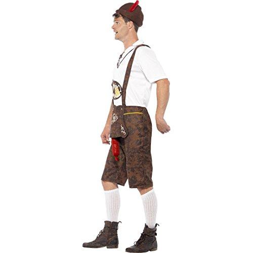 Lederhosen mit Bratwurst Bayrische Lederhose XL 56/58 Sexy Trachtenkostüm mit heraushängender Wurst Lustiges Oktoberfest Kostüm Karneval Kostüme Herren Trachtenhose Faschingskostüm Witziges Bayern Herrenkostüm