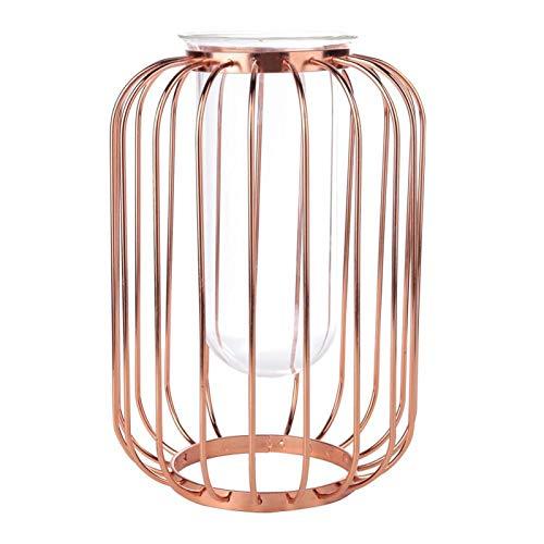 Florero de hierro Florero de hierro forjado con forma de linterna nórdica Florero de mesa de hierro de vidrio Florero(Oro rosa)