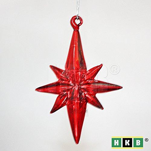 HKB ® 6 Stück roter Glas-Stern, hochwertiger Christbaumschmuck aus Glas, 65 x 55mm, 7mm stark, massiv, mit Silberfaden zum Aufhängen, wunderbares Lichtspiel bei Kerzenlicht, Artikel-Nr. 50161