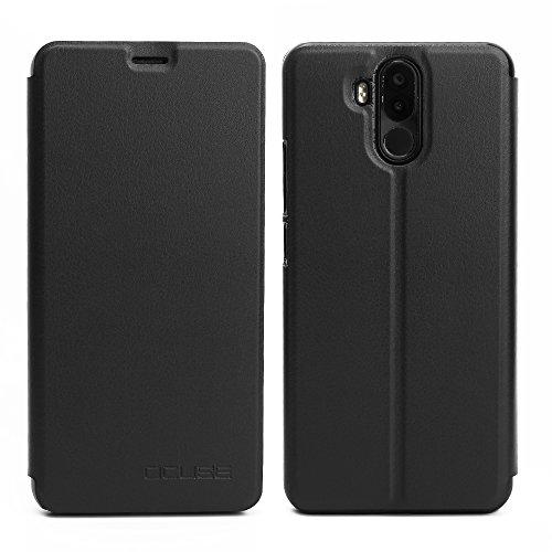 Venga amigos Hülle für Ulefone Power 3, Bookstyle Handyhülle Premium PU-Leder klapptasche Case Brieftasche Etui Schutz Hülle für Ulefone Power 3 Schwarz