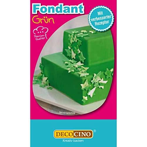 DECOCINO Fondant Grün – 250 g – ideal zum Verzieren von Kuchen, Torten, Cupcakes – Palmölfrei & vegan