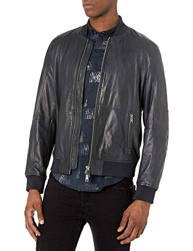 Armani Exchange AX Herren Sheepskin Bomber Jacket with Zipper Front Pockets Lederjacke, Navy, Large