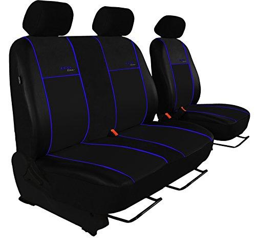 POK-TER BUS Autositzbezug Super Qualität für Bus und Transporter (Fahrersitz + 2er Beifahrersitzbank). Design Kunst-Line. Hier mit Blauer Lamelle