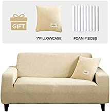 JOYDREAM Sofa Covers for 3 Cushion Couch, Stretch Sofa Slipcover, Solid Color Couch Cover, Spandex Jacquard Fabric with Small Checks, 3 Seater Sofa Cover with 1 Pillowcase (Cream, Large)
