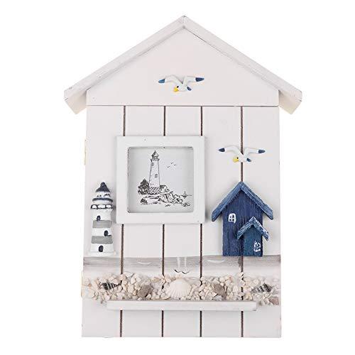 Dekimasu Mediterraner Hausschlüsselkasten,Schlüsselkasten aus Holz,Aufbewahrungsbox für Schlüsselboxen,Holz Schlüsselschrank Box,mediterraner Stil (Schale)