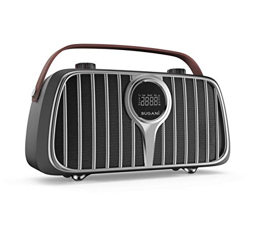 Bluetooth Speaker, BUGANI M128 Bluetooth 5.0 Retro Speakers, 2400 Minutes Playtime, 40W Vintage Portable Speakers with FM Radio, Mic Input, Indoor Wireless Speaker for Party, Home, Store (Brown)