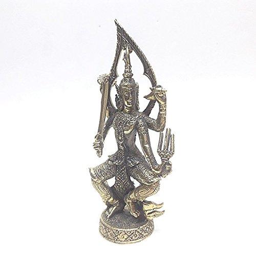 poppip Thai brass Hindu God Vishnu 4 arms weapon beautiful brass art collectible decorate H 7.5 cm