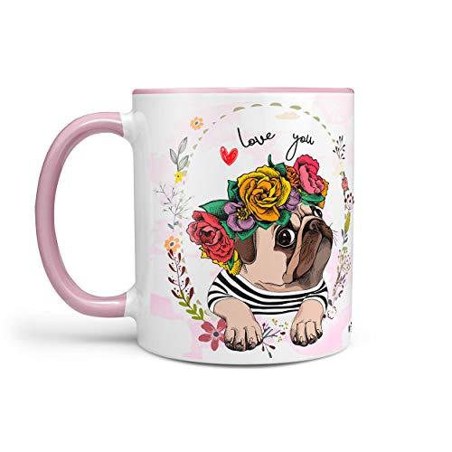 Kaffeetasse Tasse Teetasse Mops pug mit Blumenkranz