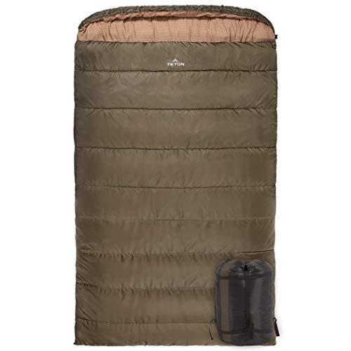 TETON Sports Mammoth 0F Queen-Size Double Sleeping Bag; Warm and Comfortable for Family Camping, Green Taffeta (111)