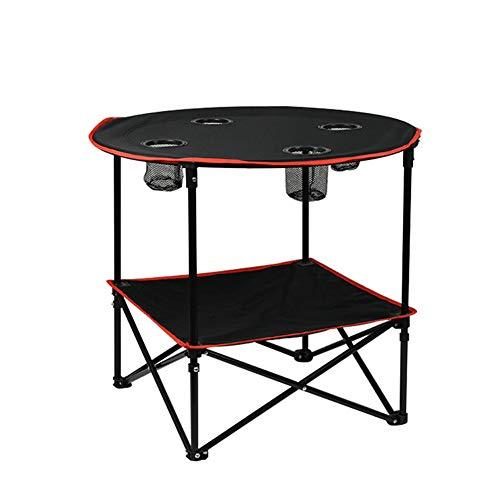 GYFHMY lichtgewicht opvouwbare campingtafel, stevig en duurzaam stalen frame, met 4 bekerhouders en draagtas, draagbaar compact voor indoor outdoor wandeltochten