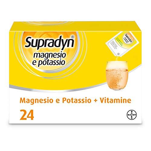 Supradyn Magnesio e Potassio Integratore Alimentare con Vitamine per Stanchezza e Affaticamento, Senza Glutine, Gusto Arancia, 24 Bustine
