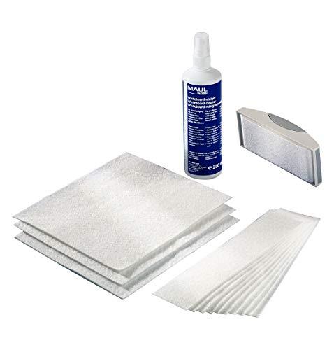 Maul Reinigungsset Whiteboard MultiClean, 250 ml Reinigungsspray, magnetischer Tafelwischer, 10 Vliestücher, 10 große Tücher