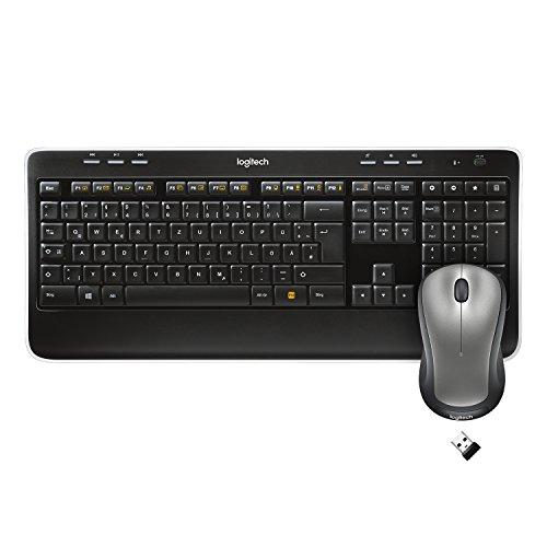 Logitech MK520 Kabelloses Tastatur-Maus-Set, 2.4 GHz Verbindung via Unifying USB-Empfänger, 6 Multimedia-Tasten, 3-Jahre Batterielaufzeit, Handballenauflage, PC/Laptop, Deutsches QWERTZ-Layout