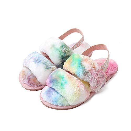 MDCGL Pantuflas Lindas,Zapatillas peludas de otoño Invierno,Zapatos cálidos Antideslizantes con Punta Abierta y Piso Interior para Mujer,Color sólido Siete Colores EU35-36