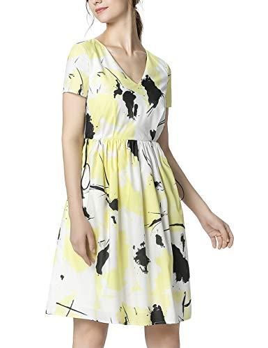 APART Damen Sommerkleid mit dem Tunnelzug in Taillenhöhe, vanille-Multicolor, 38