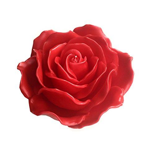 Wohnsinn Große Schwimmkerze Dekokerze Standkerze Rosenblüte handgemacht mit 21 Rosenblättern 15x7,5cm in rot