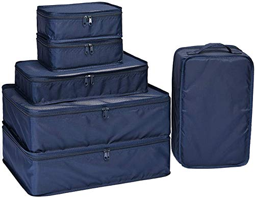 Packing Cubes 6 Set-TZbonjourney-Travel Luggage Packing Organizers with Shoe Bag (Navy)