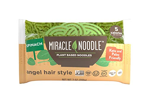 Miracle Noodle Spinach Angel Hair Pasta - Plant Based Shirataki Noodles, Keto, Vegan, Gluten-Free, Low Carb, Paleo, 0 Calories, Soy Free, Non-GMO - Perfect for Your Keto Diet - 7 oz (Pack of 24)
