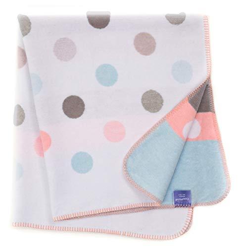 Babydecke/Kuscheldecke für Babys, kuschelig weich, Baumwollmischgewebe, 100x120 cm, Bunt - Punkte