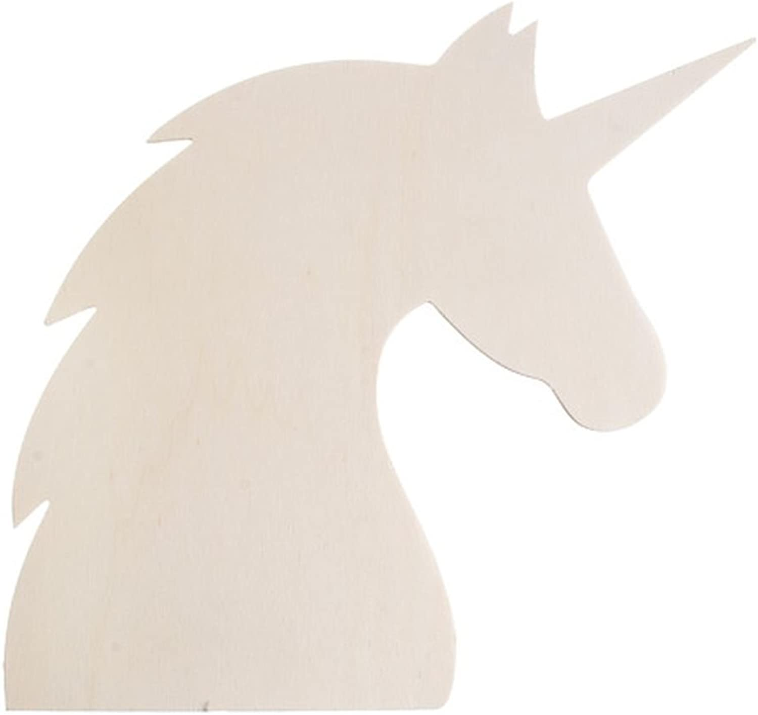 Darice 30037377 Crafting Needs, Wood Unicorn Profile Cutout, Natural, 12 x 11.6 Inches.