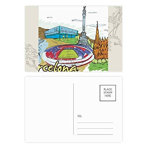 DIYthinker Spanien Barcelona Monument Aquarell-Blumen-Postkarte Set dankt Karte Mailing Side 20pcs 5.7 Zoll x 3.8 Zoll Mehrfarbig