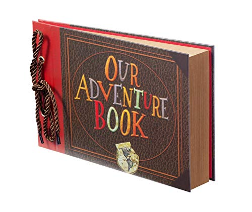 Scrapbook Photo Album,Our Adventure Book Scrapbook, Photo Book,Embossed Words Hard Cover Movie Up Travel Scrapbook for Anniversary, Wedding, Travelling, Baby Shower, etc (Adventure Book)